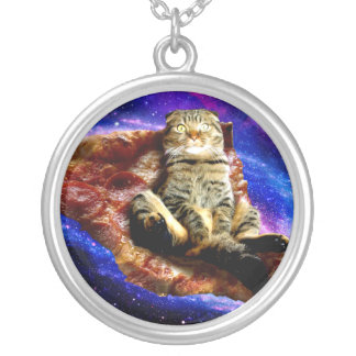 Collar Plateado gato de la pizza - gato loco - gatos en espacio