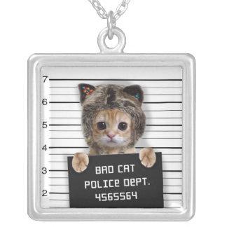 Collar Plateado gato del mugshot - gato loco - gatito - felino