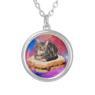 Collar Plateado gato del pan - gato del espacio - gatos en espacio