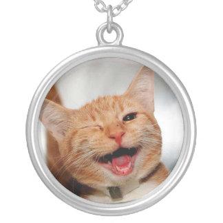 Collar Plateado Gato que guiña - gato anaranjado - los gatos