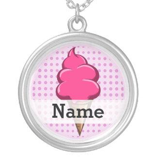 Collar Plateado Helado personalizado rosa lindo para los chicas