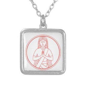 Collar Plateado Icono de Namaste