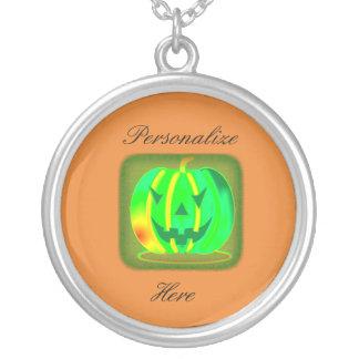 Collar Plateado Jack verde Halloween o'lantern Thunder_Cove