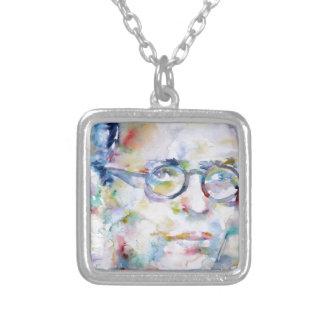 Collar Plateado Jean Paul sartre - retrato de la acuarela