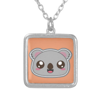 Collar Plateado Kawaii, la diversión y la koala divertida ajustan
