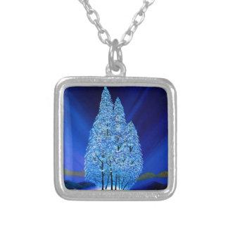 Collar Plateado La aurora boreal azul del navidad atavía