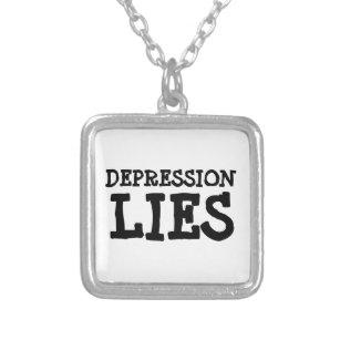 Collar Plateado la depresión miente (véase la descripción)