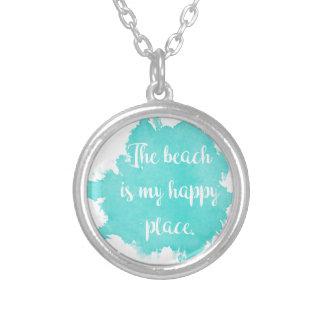 Collar Plateado La playa es mi lugar feliz