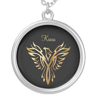 Collar Plateado Levantamiento de oro llameante de Phoenix