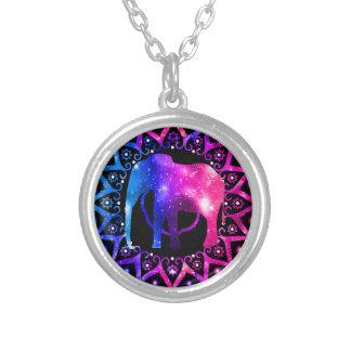 Collar Plateado Mandala del elefante
