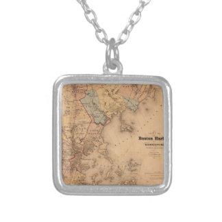 Collar Plateado Mapa de Boston 1861