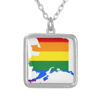 Collar Plateado Mapa de la bandera de Alaska LGBT