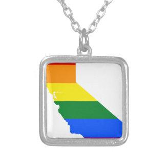 Collar Plateado Mapa de la bandera de California LGBT