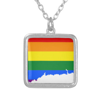 Collar Plateado Mapa de la bandera de Connecticut LGBT