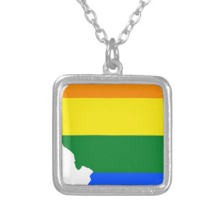 Collar Plateado Mapa de la bandera de Illinois LGBT