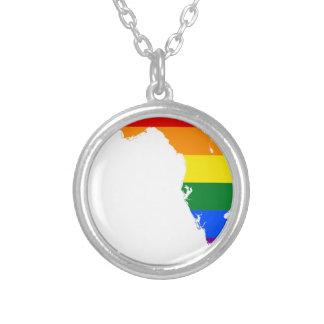 Collar Plateado Mapa de la bandera de la Florida LGBT