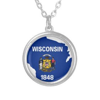 Collar Plateado Mapa de la bandera de Wisconsin