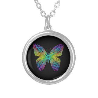 Collar Plateado Mariposa psicodélica