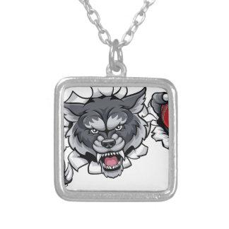 Collar Plateado Mascota del grillo del lobo que rompe el fondo