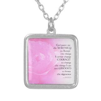 Collar Plateado Mezcla del rosa del rosa del rezo de la serenidad