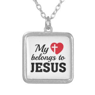 Collar Plateado Mi corazón pertenece a Jesús
