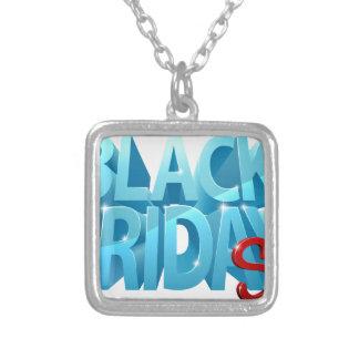 Collar Plateado Muestra negra de la venta 3D de viernes