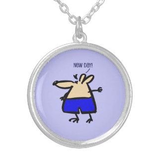 Collar Plateado Nuevo ratón de la diversión del día en b/g azul