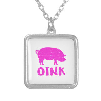 Collar Plateado Oink cerdo