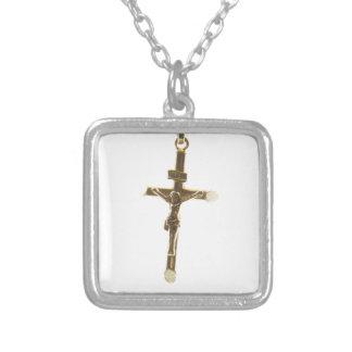 Collar Plateado Oro cruzado del Jesucristo horizontal