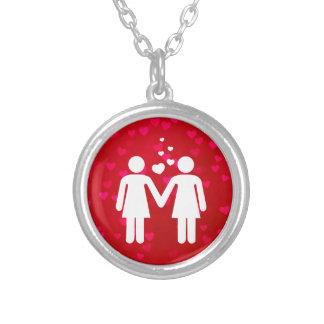 Collar Plateado Pares lesbianos en orgullo del amor LGBT