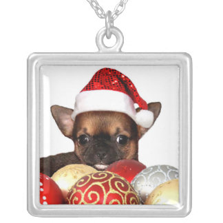Collar Plateado Perrito de la chihuahua del navidad