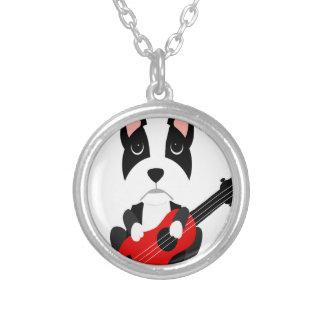 Collar Plateado Perro de Boston Terrier de la diversión que toca
