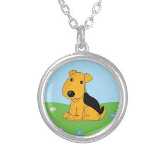 Collar Plateado Perro de perrito lindo de Kawaii Airedale en