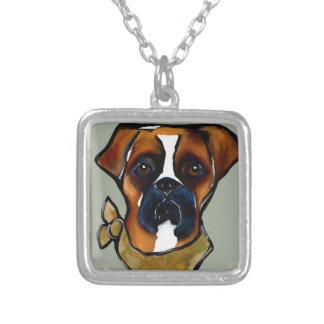 Collar Plateado Perro del boxeador