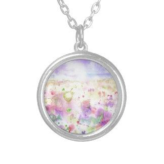 Collar Plateado Pintura abstracta del prado del wildflower de la