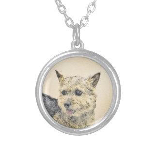 Collar Plateado Pintura de Norwich Terrier - arte original lindo