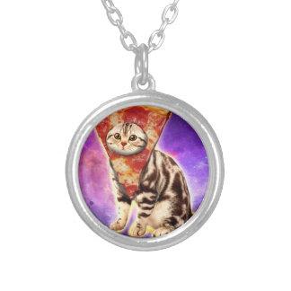 Collar Plateado Pizza del gato - espacio del gato - memes del gato