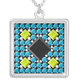 Collar plateado plata antigua del mosaico de la