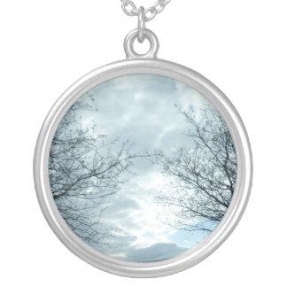 Collar plateado plata de la naturaleza