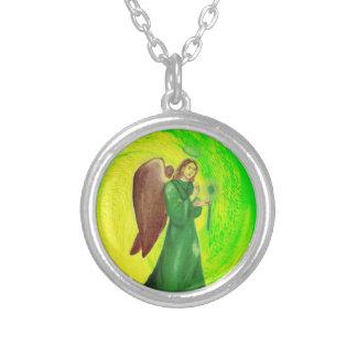Collar Plateado Plata de Raphael del arcángel plateada alrededor