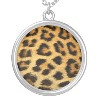 Collar Plateado Plata esterlina Nacklace del estampado leopardo