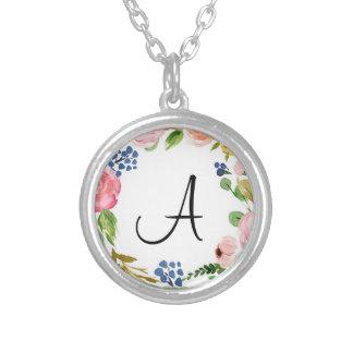 Collar plateado plata floral de encargo del