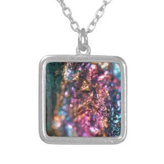 Collar Plateado Polainas del mineral de pavo real