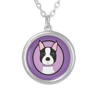 Collar Plateado Púrpura de Boston Terrier