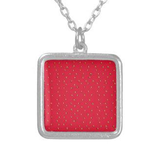 Collar Plateado Rojo divertido del fondo de la fresa
