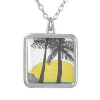 Collar Plateado Salida del sol de la palmera