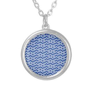 Collar Plateado semi mosaico del azul del círculo