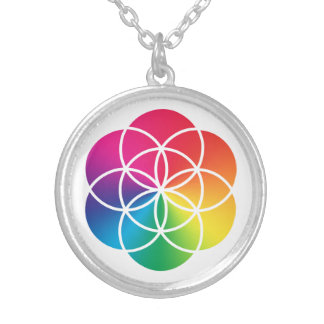Collar Plateado Semilla del arco iris de Chakras del símbolo de la