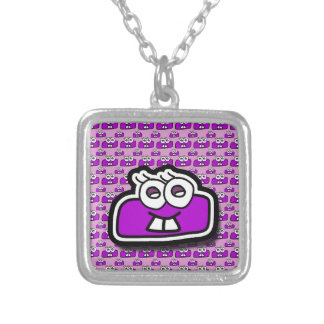 Collar Plateado Signo de restar morado - Subtraction