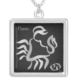 Collar Plateado Símbolo de plata del zodiaco del cáncer